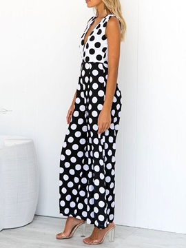 Print Ankle Length Polka Dots Loose Women's Jumpsuit