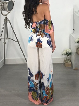 Floral Full Length Office Lady Loose Wide Legs Women's Jumpsuit