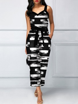 Ankle Length Print Casual Straight Loose Women's Jumpsuit