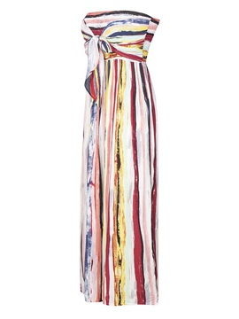 Color Block Print Full Length High Waist Loose Women's Jumpsuit