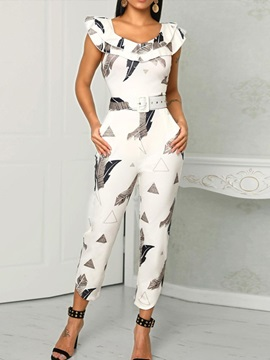 Mid-Calf Fashion Print Slim Women's Jumpsuit
