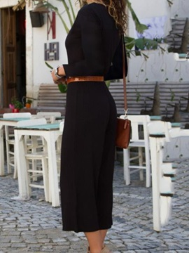 Button Mid-Calf Fashion Loose Straight Women's Jumpsuit