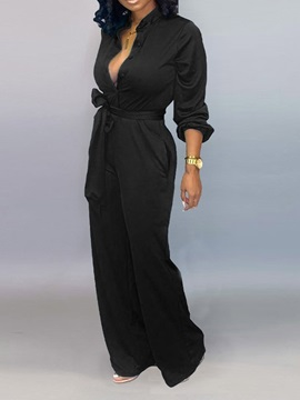 Button Full Length Fashion Loose Straight Women's Jumpsuit