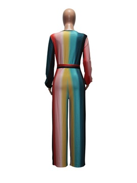 Full Length Color Block Straight Loose Women's Jumpsuit