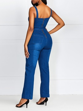 Wear to Work Full Length Color Block Straight Slim Women's Jumpsuit