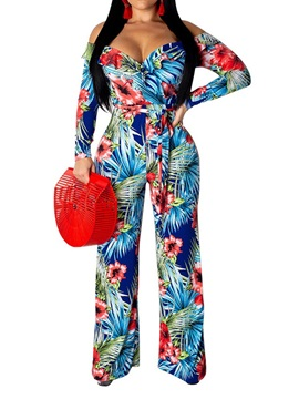 Off Shoulder Plant Full Length Lace-Up High Waist Straight Women's Jumpsuit