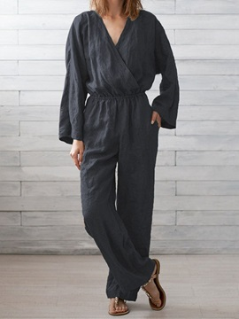 Plain Full Length Casual Straight Loose Women's Jumpsuit