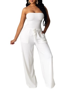 Full Length Lace-Up Sweet Loose Straight Women's Jumpsuit