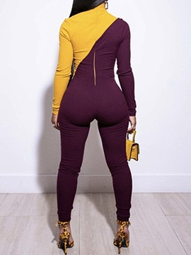 Ankle Length Color Block Sexy Pencil Pants Skinny Women's Jumpsuit