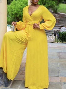 Travel Look Plain Full Length Wide Legs Loose Women's Jumpsuit