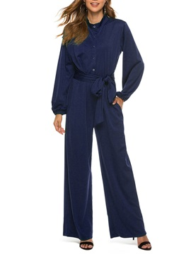 Casual Lace-Up Full Length Loose Mid Waist Women's Jumpsuit