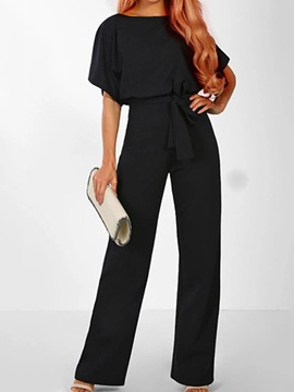 Party Cocktail Full Length Lace-Up Mid Waist Straight Women's Jumpsuit