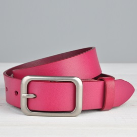 Pure Color Pin Buckle Women's Belt