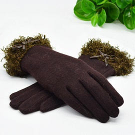 Pure Color Curly Ball Cashmere Women's Gloves