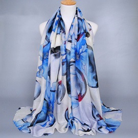 Graceful Petal Printed Voile Women's Scarf