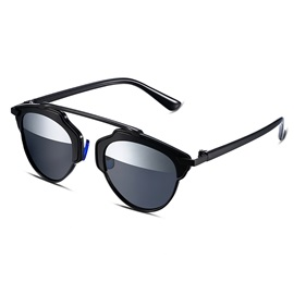 Black Frame Half Silver Lens Design Women's Polarized Sunglasses