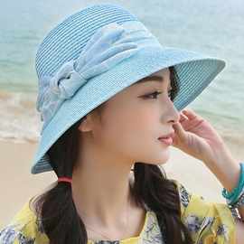 Artistic Bowknot Design Sunscreen Women's Straw Hat