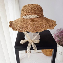 Hollowed-Out Woven Lace Tie Foldable Wide Brim Hats