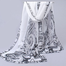 Dragon Shape Print Chiffon Lightweight Ethnic Shawl Scarfs