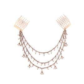 Multilayer Beads Tassel Rose Gold Alloy Vintage Korean Wedding Hair Accessories