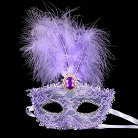 Lace Feature Purple Stone Costume Ball Halloween Party Masks