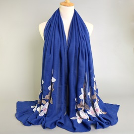 Lily Flower Embroidery Cotton Long Suzhou Retro Shawl Scarfs