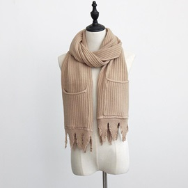Pocket Design Winter Woolen Yarn Thick Warm Scarfs