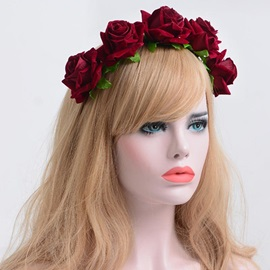 Retro Dark Red Rose Imitation Velvet Holiday Headband Garlands