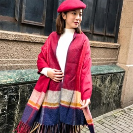Patchwork Color Cashmere Cotton Winter Scarfs