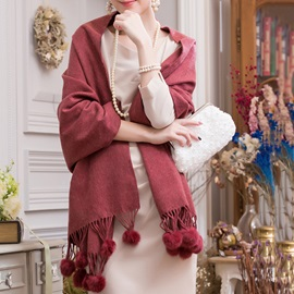 Plain Color Cashmere Balls Banquet Winter Long Shawl Scarfs