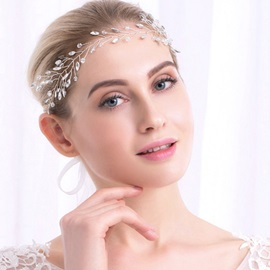 Diamond Stone Silver Yarn Tie Bride Wedding Garland Hair Accessories
