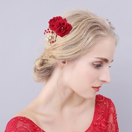 Red Flower Pearls Wedding Bride Hair Clip Hair Accessories