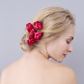 Red Rose Wedding Bride Hair Accessories