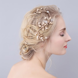 Leaf Rhinestone Golden Alloy Wedding Bride Hair Accessories