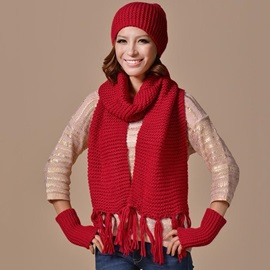 Warm Hat&Scarf&Hat Pure Color Women's Accessories