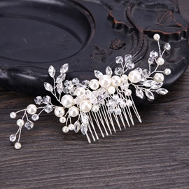 Pearl Inlaid Branch Shape Rhinestone Party/Wedding Hair Comb