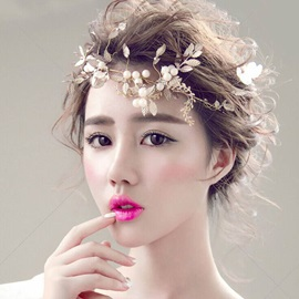 Golden Leaf with Pearl Decorated Wedding Hair Accessories