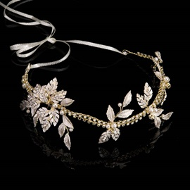 Gold-Zone Leaf with Rhinestone Bride's Wedding Hair Accessories