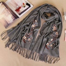Floral Embroidery Wool Scarfs for Women