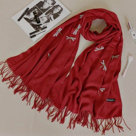 Dragonfly Pattern Embroidery Wool Scarfs for Women