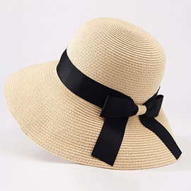 Bowknot Decorated Wide Brim Beach Sun Straw Hat