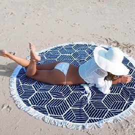 Tassel Design Round Cushion Bikini Beach Shawl