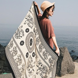 Round Ethnic Elephant Print Graphic Beach Towel
