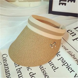 Stripe Decorated Visor Crown Beach Straw Hat