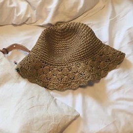 Foldable Sunscreen Straw Plaited Article Beach Bucket Hat