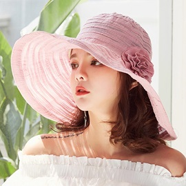 Plain Foldable Floral Decorated Beach Sun Hat