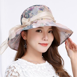 Pastoral Floral Wide Brim Cotton Sun Hat
