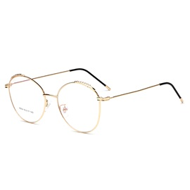 Leaf Embellished Golden Frame Metal Student Plain Glasses
