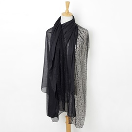 Pure Color Lace Patchwork Voile Fall Winter Scarf