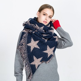Color Block Star Print Imitation Cashmere Women Tassel Scarf